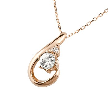ネックレス ダイヤモンド ダイヤモンド ピンクゴールド ペンダント ティアドロップ チェーン 人気 4月誕生石 k10 レディース 雫 つゆ型 涙型 送料無料