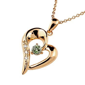 ダイヤモンド オープンハート ネックレス トップ ペリドット ペンダント ピンクゴールドk10 10金 レディース チェーン 人気 8月誕生石 ダイヤ 宝石 送料無料