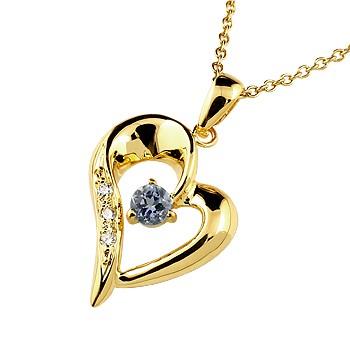ダイヤモンド オープンハート ネックレス トップ アイオライト ペンダント イエローゴールドk10 10金 レディース チェーン 人気 ダイヤ 宝石 送料無料