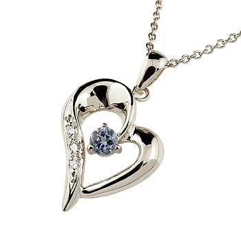 ダイヤモンド オープンハート ネックレス トップ アイオライト ペンダント ホワイトゴールドk10 10金 レディース チェーン 人気 ダイヤ 宝石 送料無料