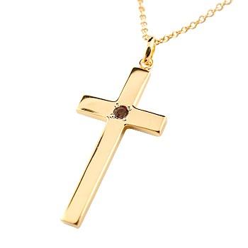 ネックレス 18金 レディース ガーネットクロス ピンクゴールドk18 ペンダント 十字架 シンプル 地金 人気 1月の誕生石 送料無料
