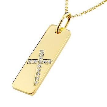 ネックレス 18金 レディース クロス プレート ダイヤモンド イエローゴールドk18 ペンダント 十字架 シンプル 地金 人気 ダイヤ 送料無料
