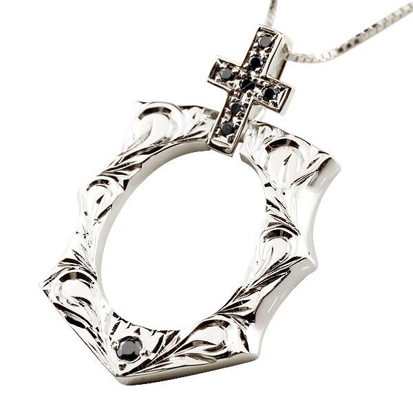 ハワイアンジュエリー ハワイアン プラチナ ブラックダイヤモンド 馬蹄 クロス ネックレス ペンダント pt900 十字架 ホースシュー 蹄鉄 アンティーク風 バテイ