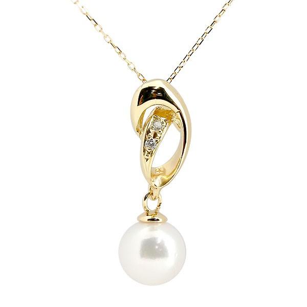 パールペンダント 真珠 フォーマル ネックレス イエローゴールドk10 ダイヤモンド ペンダント チェーン 人気 6月誕生石 10金 レディース 送料無料