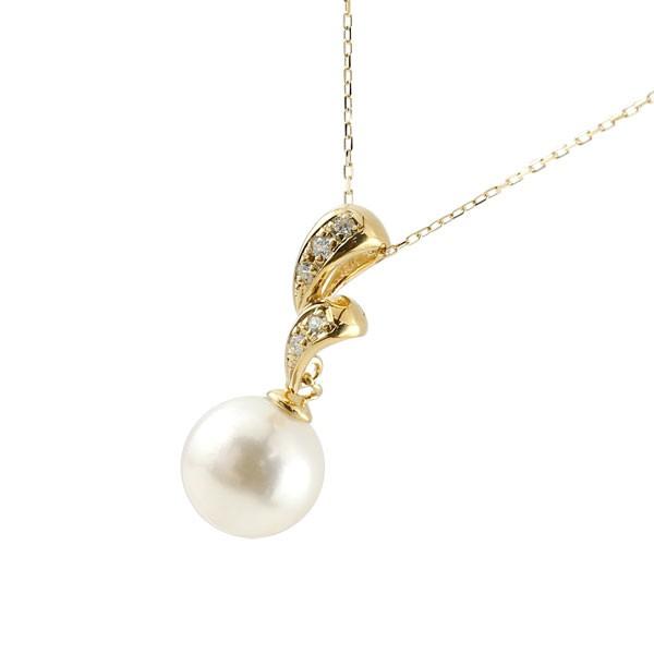 パールペンダント 真珠 フォーマル ネックレス イエローゴールドk18 ダイヤモンド ペンダント チェーン 人気 6月誕生石 18金 レディース 送料無料