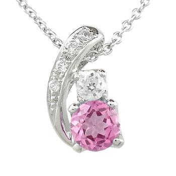ピンクトルマリン ダイヤモンド ペンダントヘッド チャーム ネックレス 大粒 ホワイトゴールドk18 ダイヤ 18金 宝石 送料無料