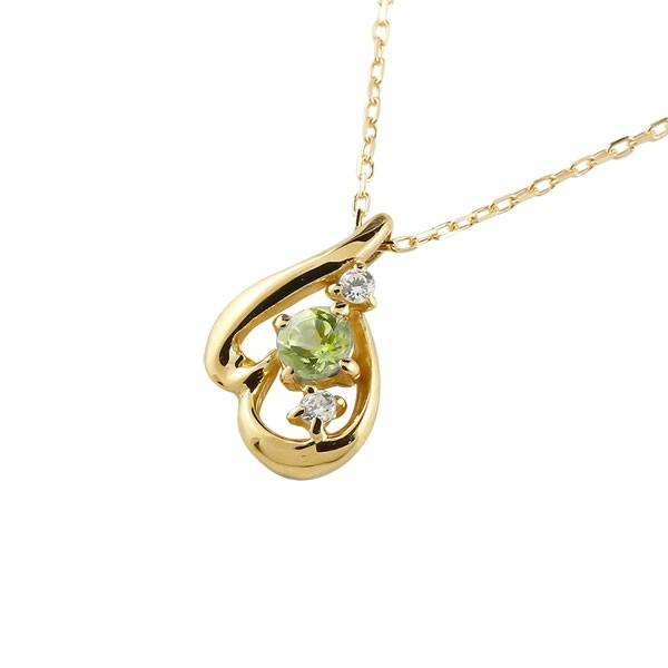 ネックレス ダイヤモンド ティアドロップペリドット イエローゴールドk10 8月誕生石 チェーン k10 10金 人気 ダイヤ 雫 つゆ型 涙型 送料無料