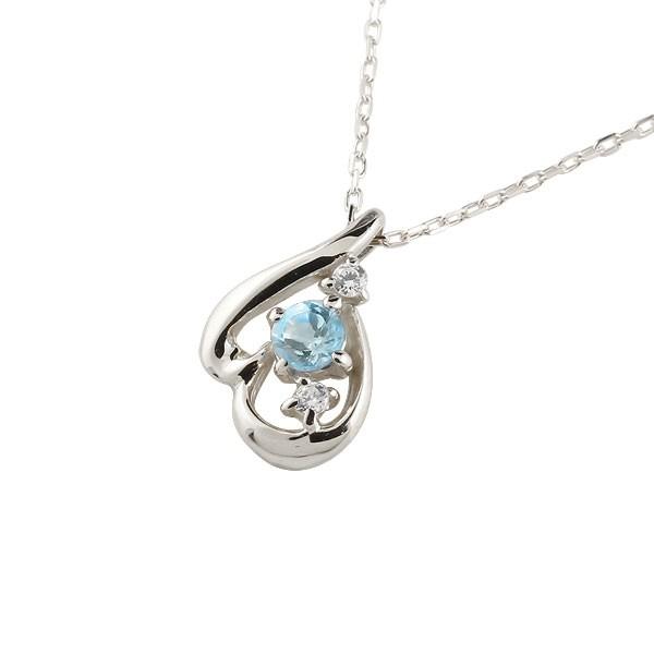 ネックレス ダイヤモンド ティアドロップブルートパーズ ホワイトゴールドk10 11月誕生石 チェーン k10 10金 人気 ダイヤ 雫 つゆ型 涙型 送料無料