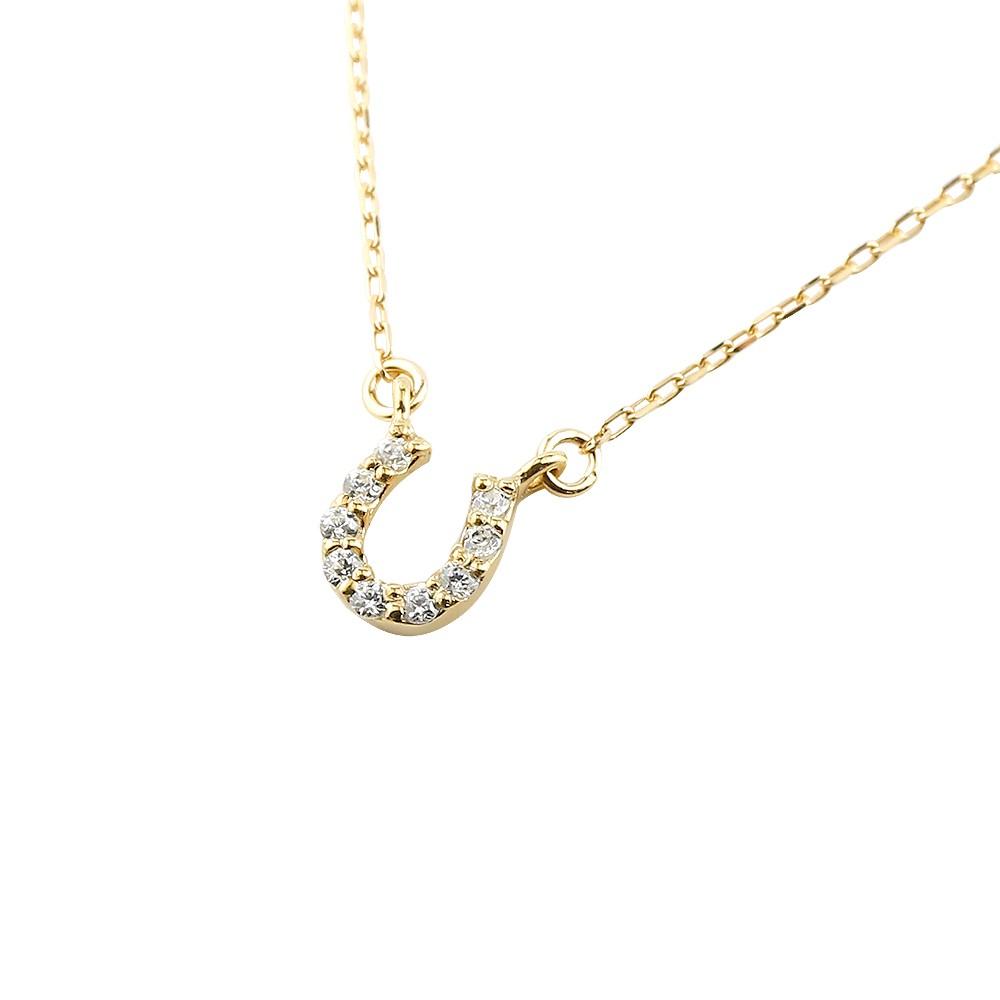ネックレス ダイヤモンドダイヤ ペンダント 馬蹄 蹄鉄 バテイ イエローゴールドk10 チェーン 人気 10金 送料無料