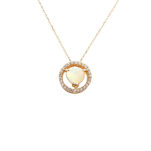 ダイヤモンド ネックレス オパール ピンクゴールドk18 18金 10月誕生石 チェーン 人気 ダイヤ 送料無料