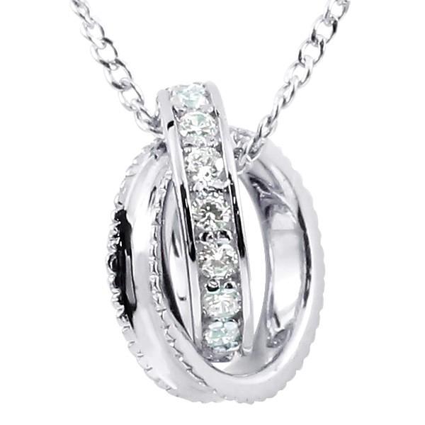 ネックレス ダイヤモンド ネックレス ペンダント シルバー925 ダイヤリングネックレス ミル打ち エタニティー チェーン レディース 送料無料