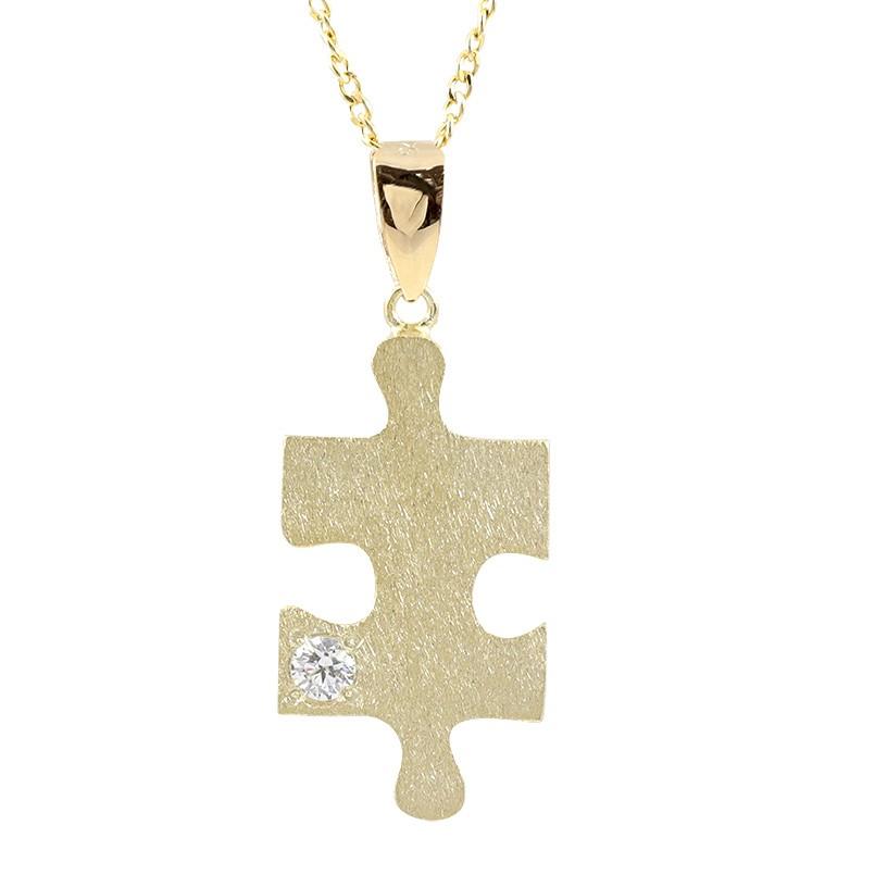 ネックレス ダイヤモンド パズル ピース イエローゴールドk18 ペンダント シンプル 18金 チェーン ホーニング加工 つや消し ダイヤ 一粒 送料無料 レディース