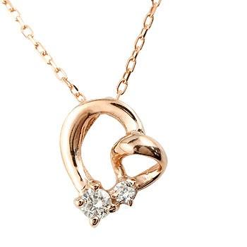 ネックレス ダイヤモンド オープンハートペンダント ピンクゴールドk10 ダイヤ 10金 チェーン 人気 送料無料