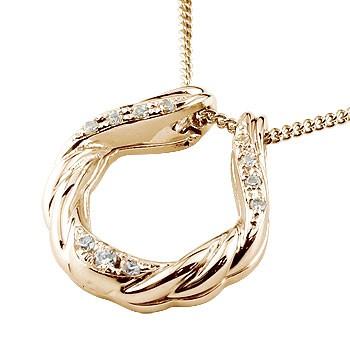 馬蹄 ネックレス ダイヤモンド ペンダント ピンクゴールドk18 ホースシュー 蹄鉄 ダイヤ アンティーク風 k18 チェーン 人気 バテイ 送料無料
