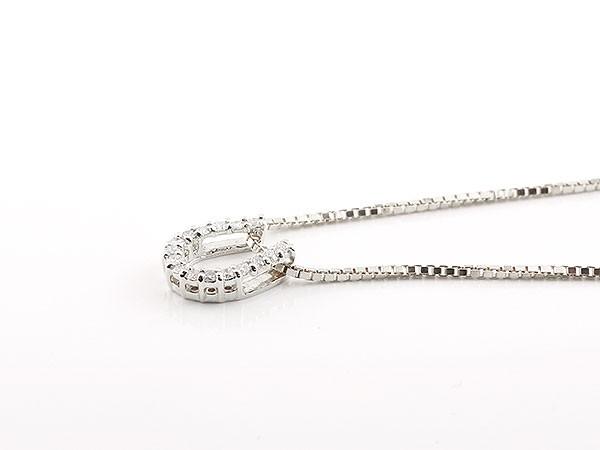 ペアネックレス 馬蹄 ネックレス ダイヤモンド ペンダント ホワイトゴールドk10 ホースシュー 蹄鉄 ダイヤ 10金 チェーン 人気 バテイ 送料無料pMGSqUzV