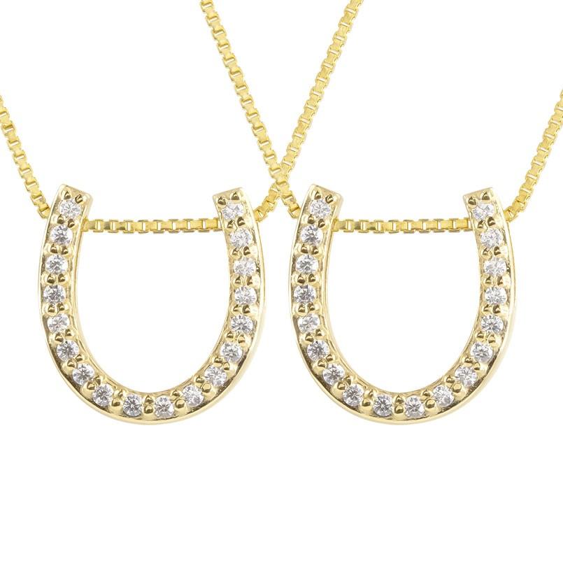 ペアネックレス 馬蹄 ネックレス ダイヤモンド ペンダント イエローゴールドk10 ホースシュー 蹄鉄 ダイヤ 10金 チェーン 人気 バテイ 送料無料