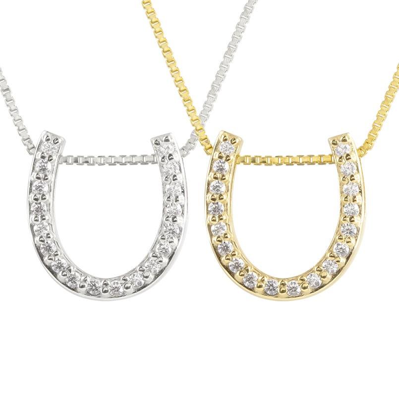 ペアネックレス 馬蹄 ネックレス ダイヤモンド ホワイトゴールドk10 イエローゴールドk10 ペンダント ホースシュー 蹄鉄 ダイヤ 10金 チェーン 人気 バテイ