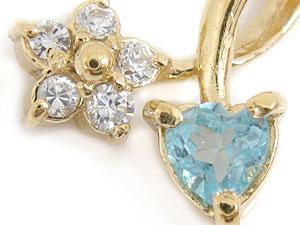 ネックレス ハート フラワー ダイヤモンド ブルートパーズ イエローゴールドk18 ハート フラワー K18 チェーン 人気 18金 ダイヤ 送料無料eWQdBxrCo