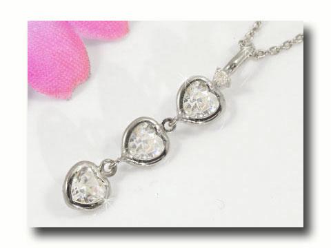 ネックレスキュービックジルコニアダイヤモンド ハート スリーストーン チェーン 人気 ダイヤ 送料無料