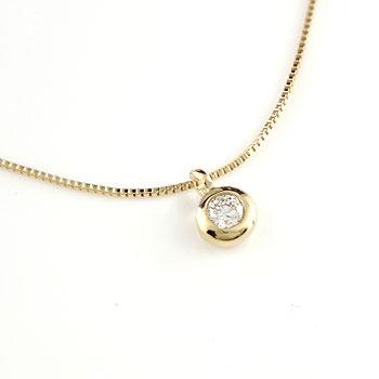 18金ネックレス レディース ダイヤモンド 一粒 ゴールド 18k シンプル ネックレス ダイヤ イエローゴールドk18 ダイヤ 0.05ct チェーン 人気 送料無料