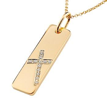 ネックレス クロス プレート ダイヤモンド ネックレス ピンクゴールドk18 ペンダント 十字架 シンプル 地金 チェーン 人気 18金 ダイヤ 送料無料