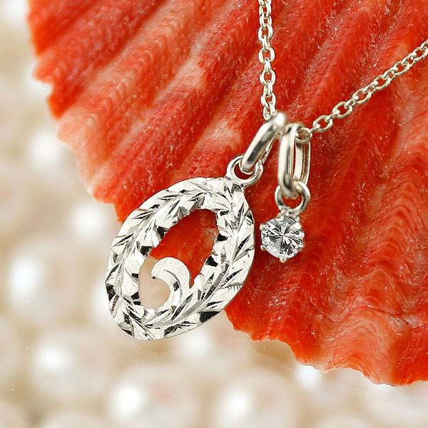 ハワイアンジュエリー 数字 0 ダイヤモンド ネックレス ペンダント ホワイトゴールドk10 ナンバー レディース チェーン 人気 4月誕生石 10金 送料無料