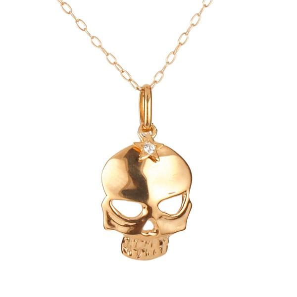 ネックレス ダイヤモンド一粒 ピンクゴールドk18 ダイヤ ペンダント ドクロ スカル 髑髏 k18 18金 レディース チェーン 人気 送料無料