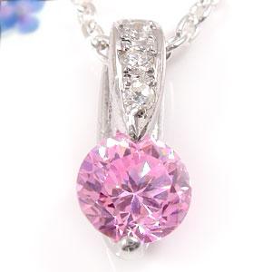 ネックレス ピンクキュービックジルコニア ダイヤモンド ホワイトゴールドK18 アズキネックレス チェーン 人気 18金 ダイヤ 送料無料