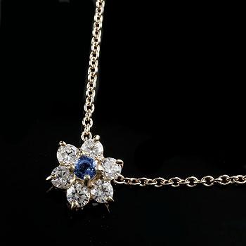 ネックレス ダイヤモンド サファイアフラワー 花 ペンダント ホワイトゴールドk18 レディース チェーン 人気 18金 ダイヤ 送料無料