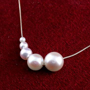 パールネックレス 真珠 フォーマル ネックレス ホワイトゴールドk18 18金 レディース チェーン 人気 パールスルー 6月誕生石 送料無料