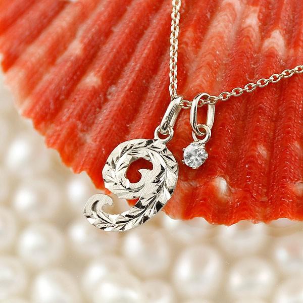 ハワイアンジュエリー 数字 9 ダイヤモンド ネックレス トップ ペンダント ホワイトゴールドk18 ナンバー レディース チェーン 人気 4月誕生石 18金 送料無料
