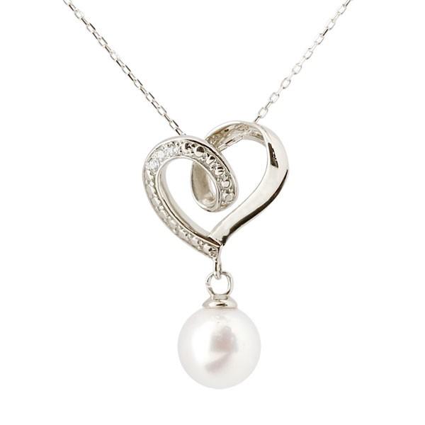 ネックレス ダイヤモンド オープンハート パールネックレス 真珠 フォーマル ホワイトゴールドk18ペンダント チェーン 人気 6月誕生石 18金 送料無料