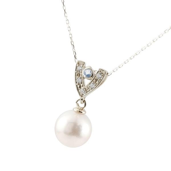 パールネックレス トップ 真珠 フォーマル ホワイトゴールドk18 ブルームーンストーン ネックレス トップ ダイヤモンド ペンダント チェーン 人気 6月誕生石 18金 送料無料