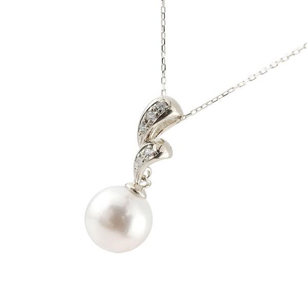 パールネックレス トップ 真珠 フォーマル ホワイトゴールドk18ネックレス トップ ダイヤモンド ペンダント チェーン 人気 6月誕生石 18金 送料無料