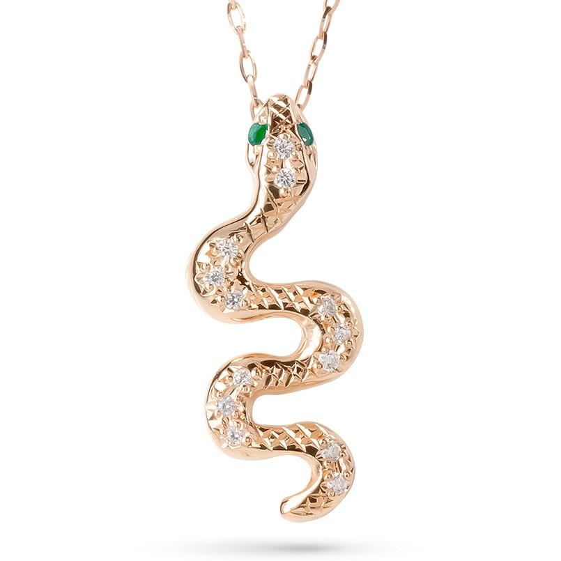 ゴールド ネックレス レディース エメラルド ダイヤモンド ヘビ ペンダント 10K 10金 ピンクゴールドk10 蛇 スネーク アミュレット 個性的 女性 人気 送料無料