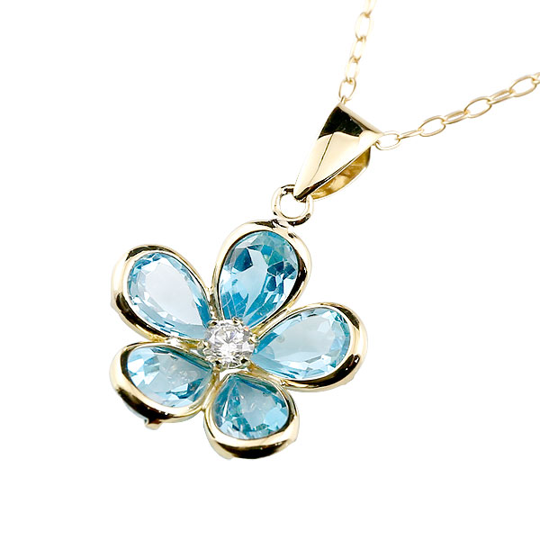 【送料無料】ブルートパーズ ネックレス イエローゴールドk18 フラワー ダイヤモンド ペンダント 花 チェーン 人気 11月誕生石 レディース 18金 宝石 ファッション お返し