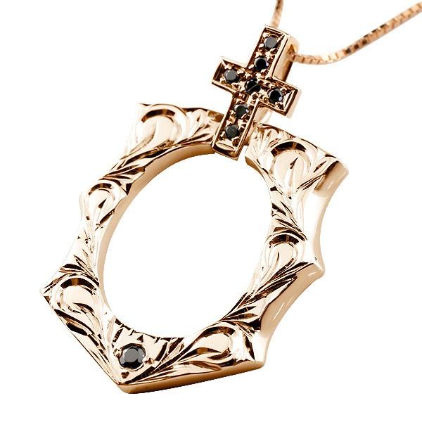ハワイアンジュエリー ブラックダイヤモンド 馬蹄 ピンクゴールドk18 クロス ネックレス 18金 十字架 ホースシュー 蹄鉄 アンティーク風 バテイ 女性 送料無料