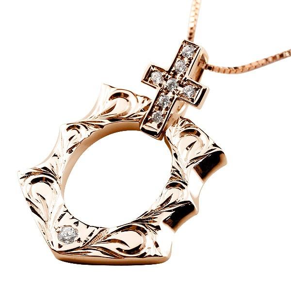 ハワイアンジュエリー ダイヤモンド 馬蹄 ピンクゴールドk10 クロス ネックレス ペンダント 10金 十字架 ホースシュー 蹄鉄 アンティーク風 チェーン ダイヤ