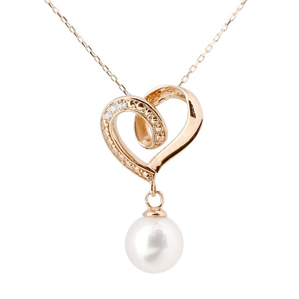 ダイヤモンド オープンハート 誕生石 真珠 フォーマル パール ネックレス トップ ピンクゴールドk10 ペンダント チェーン 人気 6月誕生石 10金 レディース 女性