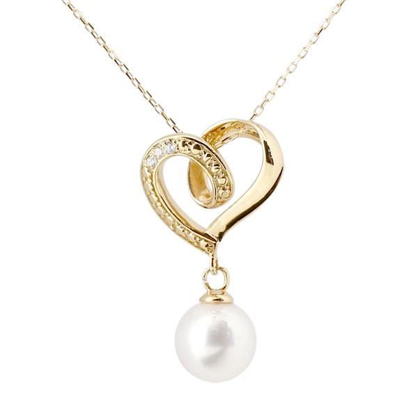 ダイヤモンド オープンハート 誕生石 真珠 フォーマル パール ネックレス トップ イエローゴールドk10 ペンダント チェーン 人気 6月誕生石 10金 レディース 女性