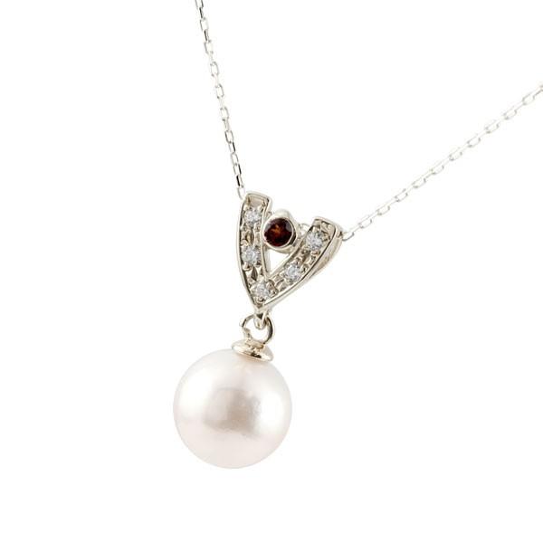 パールペンダント 真珠 フォーマル 誕生石 ガーネット ネックレス ホワイトゴールドk18 ダイヤモンド ペンダント チェーン 人気 6月誕生石 18金 レディース 宝石