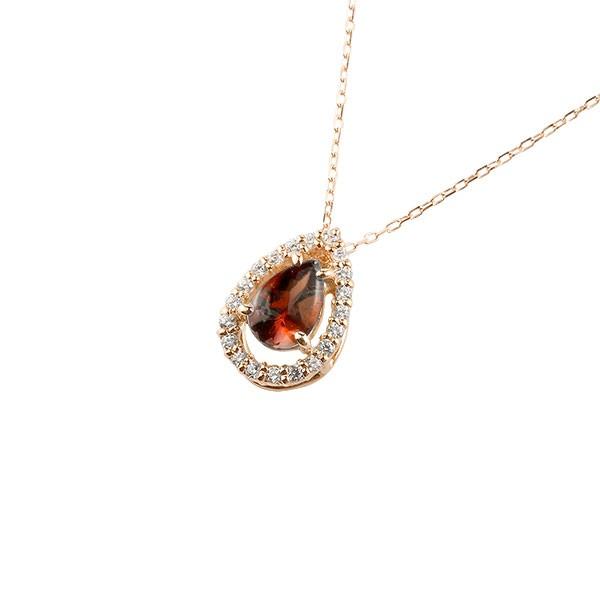 ガーネット ネックレス ダイヤモンド ピンクゴールドk18 ペンダント ティアドロップ型 チェーン 18金 人気 1月誕生石 k18 レディース 宝石 雫 つゆ型 涙型