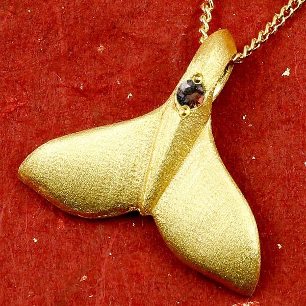 ハワイアンジュエリー 純金 ネックレス ホエールテール クジラ 鯨 ガーネット ゴールド ペンダント 天然石 1月誕生石 k24 24金 レディース 人気 宝石 女性