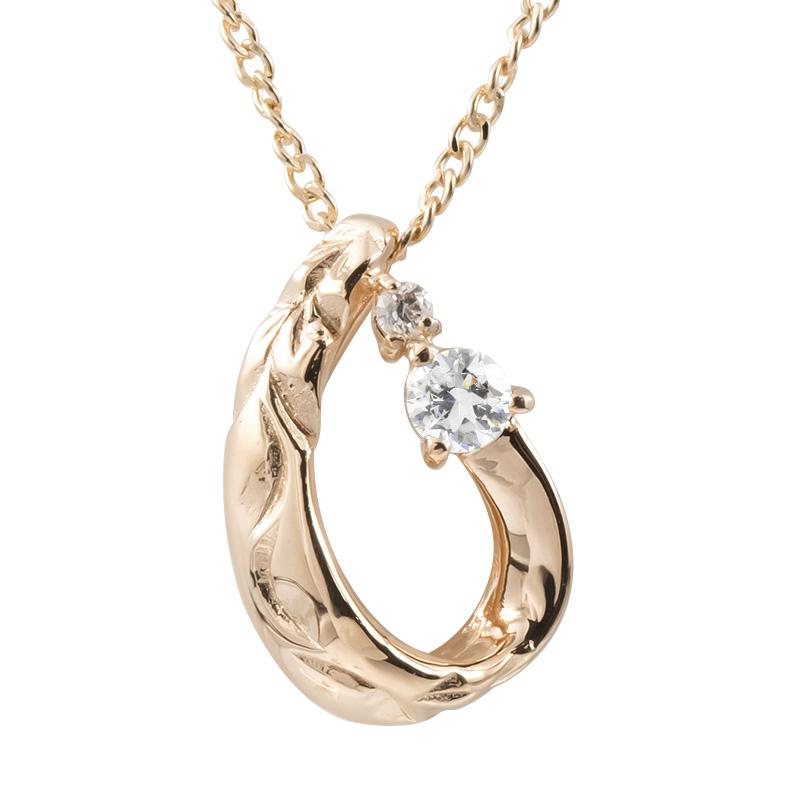 ハワイアンジュエリー ネックレス ダイヤモンド ピンクゴールドk18 ティアドロップ チェーン ネックレス レディース 18金 雫 つゆ型 涙型 送料無料