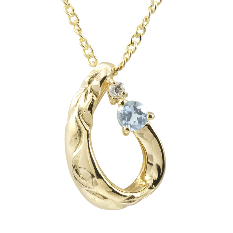 ハワイアンジュエリー ネックレス アクアマリン ダイヤモンド イエローゴールドk18 ティアドロップ チェーン ネックレス レディース 18金 つゆ 送料無料