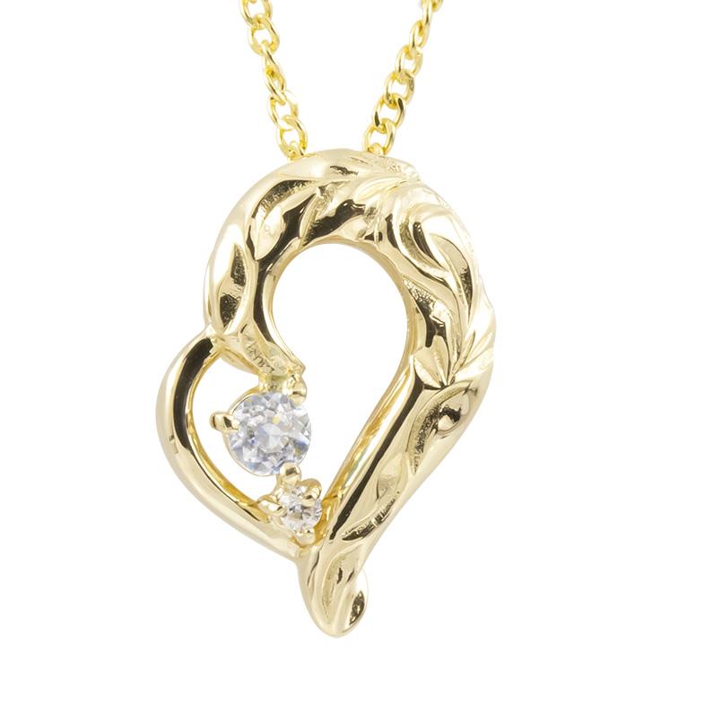 ハワイアンジュエリー ネックレス ダイヤモンド イエローゴールドk10 ハート チェーン ネックレス レディース 10金 オープンハート 送料無料