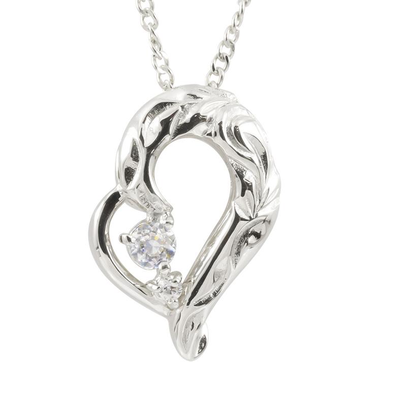 ハワイアンジュエリー プラチナネックレス ダイヤモンド ハート チェーン ネックレス レディース pt900 オープンハート プレゼント 送料無料