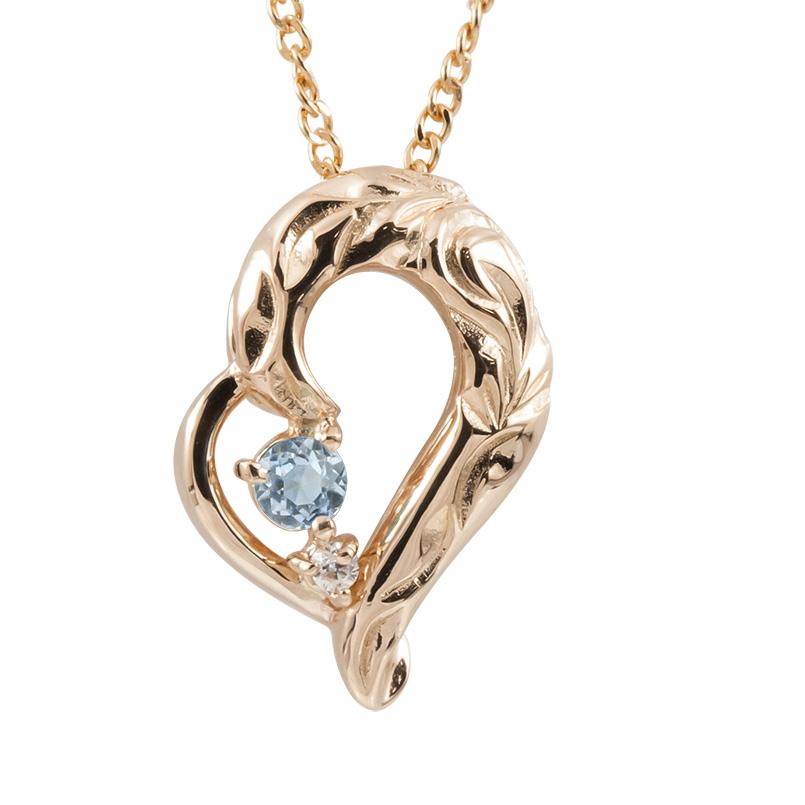 ハワイアンジュエリー ネックレス アクアマリン ダイヤモンド ピンクゴールドk10 ハート チェーン ネックレス レディース 10金 オープンハート 送料無料