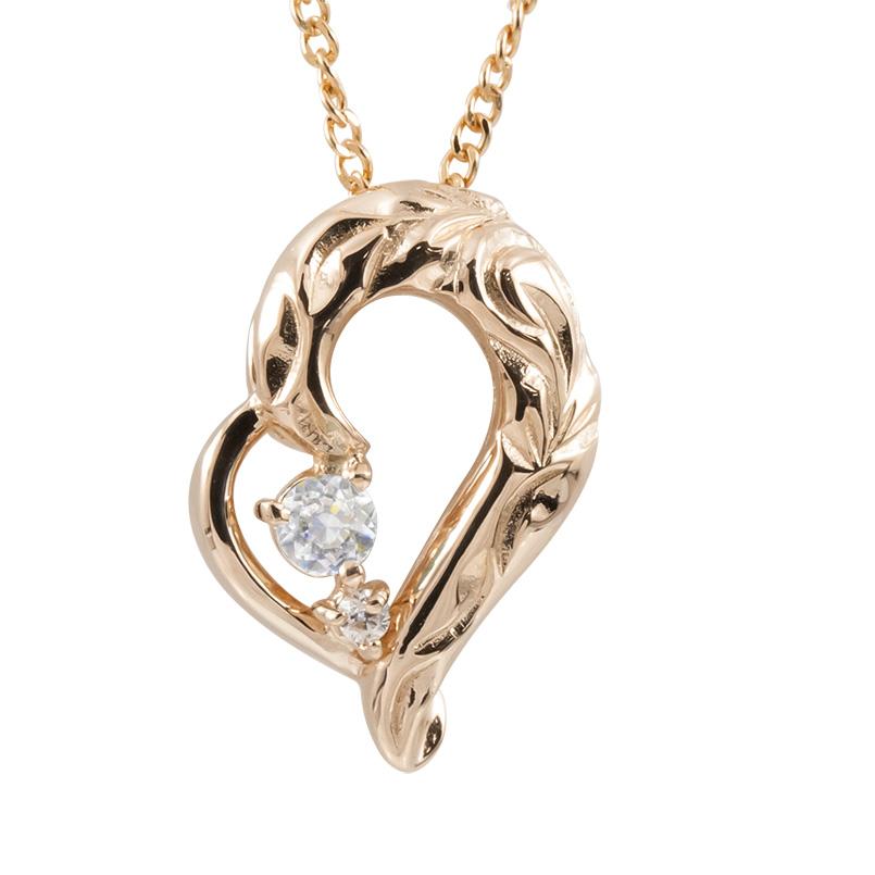 ハワイアンジュエリー ネックレス ダイヤモンド ピンクゴールドk10 ハート チェーン ネックレス レディース 10金 オープンハート 送料無料