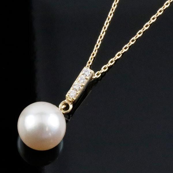 パール 真珠 フォーマル ネックレス 一粒 アコヤ 本真珠 ダイヤモンド イエローゴールドk18 18k 6月誕生石 チェーン 18金 レディース 送料無料